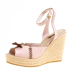 9107c67c58bc Louis Vuitton Blush Pink Leather Manyara Ankle Strap Espadrilles Wedges  Sandals Size 40