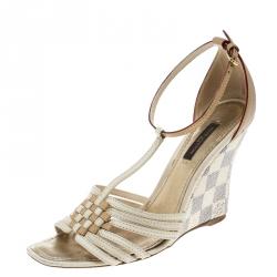 358b181841705 Louis Vuitton Cream Beige Leather and Damier Azur Square Toe Ankle Strap  Sandals Size 36