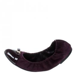 102b9eb15b7a Louis Vuitton Purple Suede And Leather Elba Scrunch Ballet Flats Size 39.5