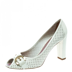 459a8b568023 Louis Vuitton White Perforated Leather Buckle Peep Toe Block Heel Pumps Size  39.5