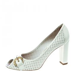 1c45770024a2 Louis Vuitton White Perforated Leather Buckle Peep Toe Block Heel Pumps  Size 39.5