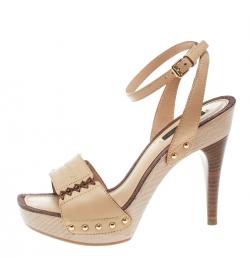 cb36dba0a62b Louis Vuitton Beige Leather Wood Platform Ankle Wrap Sandals Size 36