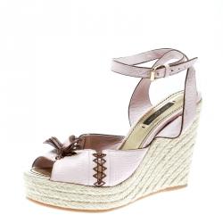 1fc0de80790df Louis Vuitton Blush Pink Leather Ankle Strap Espadrilles Wedge Sandals Size  36