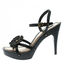 a0c885f408628 Louis Vuitton Black Monogram Canvas and Leather Freesia Ankle Strap  Platform Sandals Size 39.5