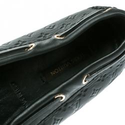 Louis Vuitton Black Monogram Empreinte Leather Gloria Flat Loafers Size 38.5