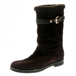1b9c6fb906af Louis Vuitton Brown Embroidered Suede Knee Length Boots Size 38.5