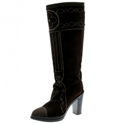 802ffc18b6e4 Louis Vuitton Brown Monogram Embossed Suede Mid Calf Buckle Detail Boots  Size 39