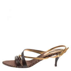 fa4763aa9c52 Louis Vuitton Brown Python And Metallic Gold Leather Strappy Sandals Size 39