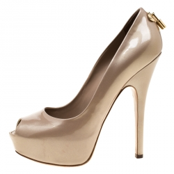 0fa813a1b15a Louis Vuitton Beige Patent Leather Oh Really! Peep Toe Platform Pumps Size  40
