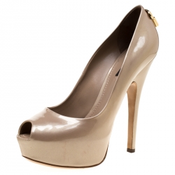 d5a1a95f38b Louis Vuitton Beige Patent Leather Oh Really! Peep Toe Platform Pumps Size  40