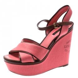 a0bb7beea862 Louis Vuitton Pink Canvas And Leather Trim Articles De Voyage Platform  Wedge Sandals Size 39
