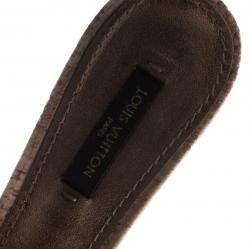 Louis Vuitton Blue Monogram Denim Bow Cork Heel Peep Toe Slides Size 37