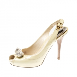 7533cc824 Louis Vuitton Citrine Vernis Dice Peep Toe Sling Back Sandals Size 39.5