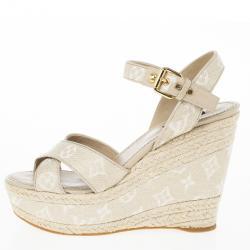 eb2a1524a0c Louis Vuitton Beige Monogram Denim Formentera Espadrilles Wedge Sandals  Size 39.5