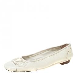 Louis Vuitton White Leather Oxford Ballet Flats Size 37.5