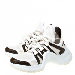 Louis Vuitton White Leather And Monogram Canvas Archlight Lace Up Sneakers Size 38