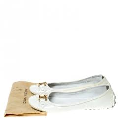 Louis Vuitton White Patent Leather Ballet Flats Size 37.5