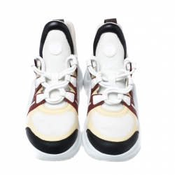 Louis Vuitton Multicolor Leather, Mesh And Monogram Canvas Archlight Lace Up Sneakers Size 38