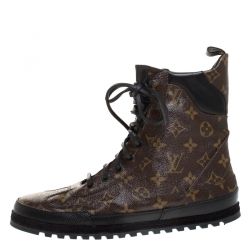 Louis Vuitton Brown Monogram Canvas And Leather High Top Lace Up Sneakers Size 41