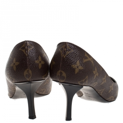 Louis Vuitton Brown Monogram Canvas And Patent Leather Trim Fetish Pointed Toe Pumps Size 37