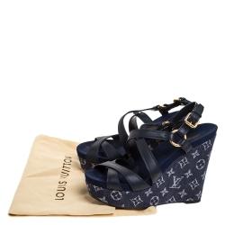 Louis Vuitton Blue Leather And Monogram Denim Wedge Ocean Sandals Size 39.5