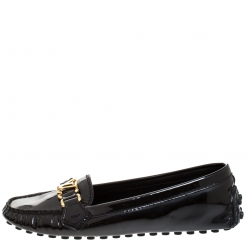 Louis Vuitton Black Patent Leather Oxford Logo Detail Loafers Size 38.5