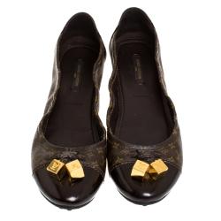 Louis Vuitton Monogram Canvas And Patent Leather Cap Toe Lovely Ballet Flats Size 39