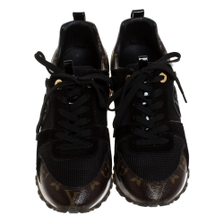 Louis Vuitton Black/Brown Mesh and Suede Leather Run Away Lace Up Sneakers Size 37