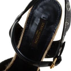 Louis Vuitton Blue/White Denim Monogram And Patent Espadrilles Wedge Sandals Size 39