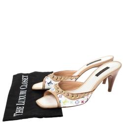 Louis Vuitton White Multicolore Monogram Canvas Slide Sandals Size 38