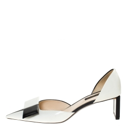 Louis Vuitton Black/White Leather D'Orsay Bow Pointed Toe Pumps Size 38.5