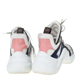 Louis Vuitton White/Blue Leather And Mesh Archlight Lace Up Sneakers Size 38