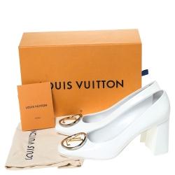Louis Vuitton Patent Leather Madeleine Logo Block Heel Pumps Size 39