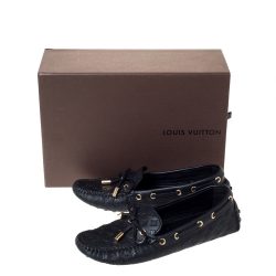 Louis Vuitton Black Monogram Embossed Leather Gloria Loafers Size 35