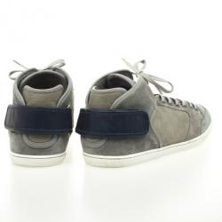 Louis Vuitton Grey High Top Lace Up Sneakers Size 44.5