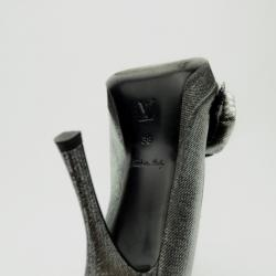 Louis Vuitton Silver Satin Moir Galourize Me Peep Toe Pumps Size 38