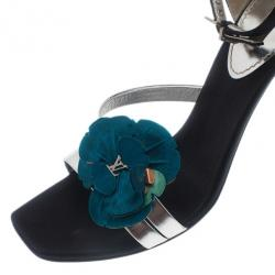 Louis Vuitton Satin Flower Ankle Strap Sandals Size 39