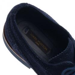 Louis Vuitton Blue Suede Lace Up Brogue Oxfords Size 37.5