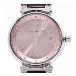 Louis Vuitton Pink Stainless Steel and Leather Diamond Tambour Q121Y Women's Wristwatch 23MM