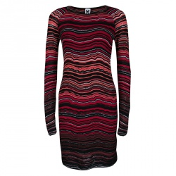 M Missoni Multicolor Wave Pattern Textured Knit Long Sleeve Dress S
