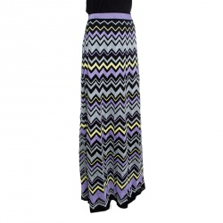 M Missoni Multicolor Chevron Pattern Lurex Knit Maxi Skirt M