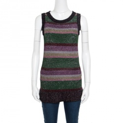 dc2f2a39690 M Missoni Multicolor Patterned Lurex Knit Fuzzy Trim Detail Sleeveless Top S