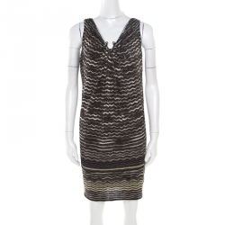 6760dfb431f M Missoni Multicolor Lurex Chevron Perforated Knit Sleeveless Dress S