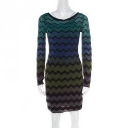 49d5bfe49411 M Missoni Multicolor Chevron Patterned Knit Long Sleeve Dress S