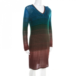 24cdf41961 M Missoni Multicolor Perforated Knit Chevron Pattern V-Neck Dress M