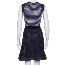 M Missoni Blue Patterned Knit Paneled Short Dress M