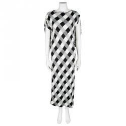 Maison Martin Margiela Monochrome Checked Draped Back Detail Dress M