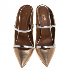 Malone Souliers Rose Gold//Silver Leather Maureen Pointed Toe Mules Size 41