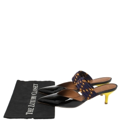 Malone Souliers Black/Purple Patent Leather and Chord Maisie Kitten-Heel Sandals Size 39