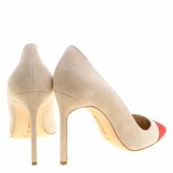 Manolo Blahnik Two Tone Suede Bipunta Pointed Toe Pumps Size 38